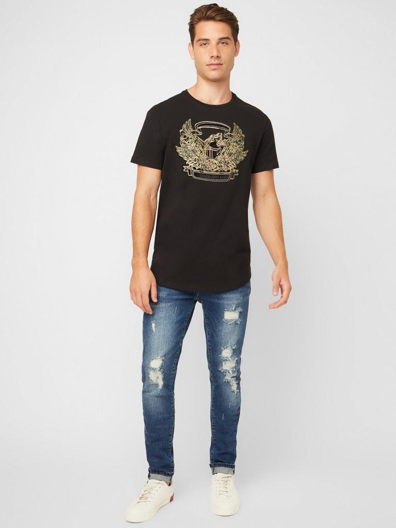 Tee shirt manches courtes Guess Logo i nv//jne mc tee jr Bleu 17619 Neuf