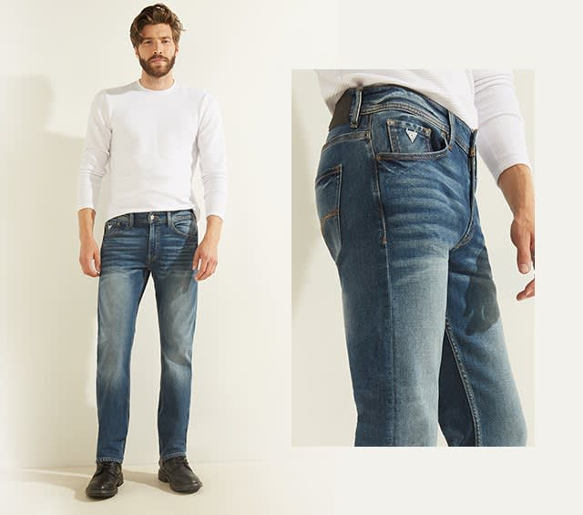 Straight leg jeans for men