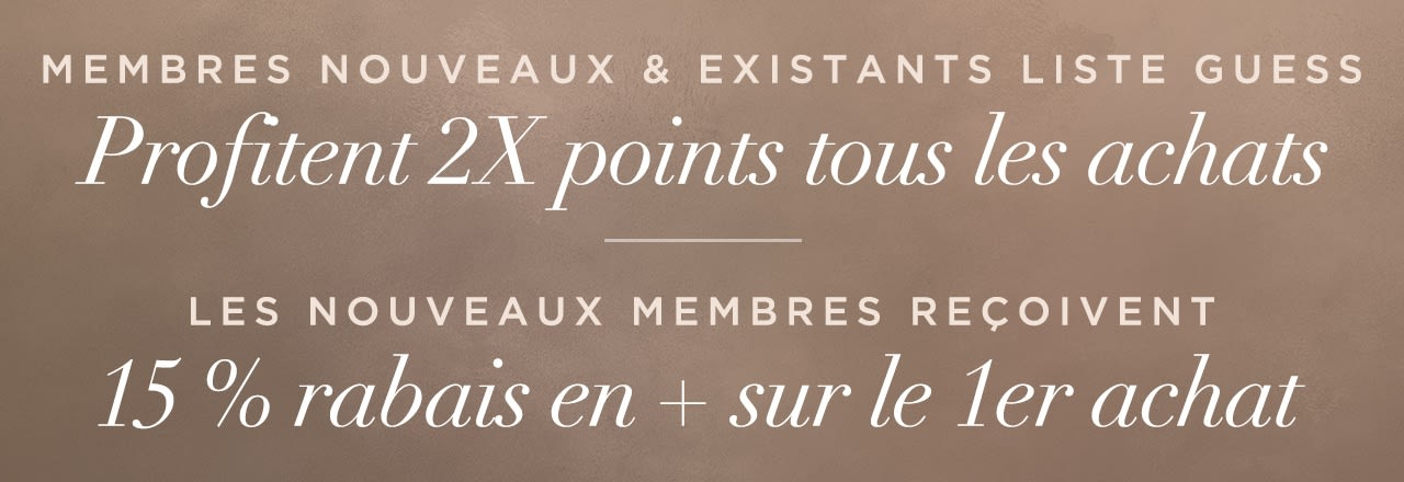GUESS List Members Enjoy 2X Points on ALL purchases