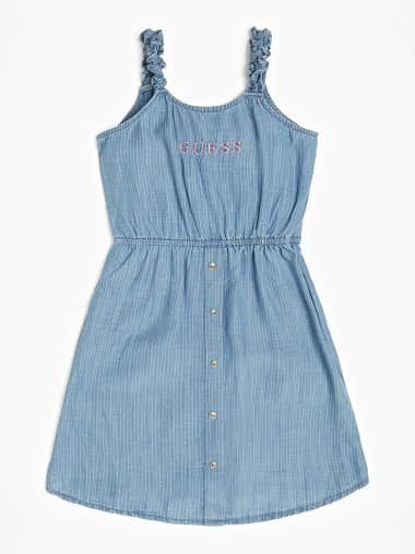 Tutina Corta Shorts in Chambray Blu Denim Ragazza Bimba Bambina Guess