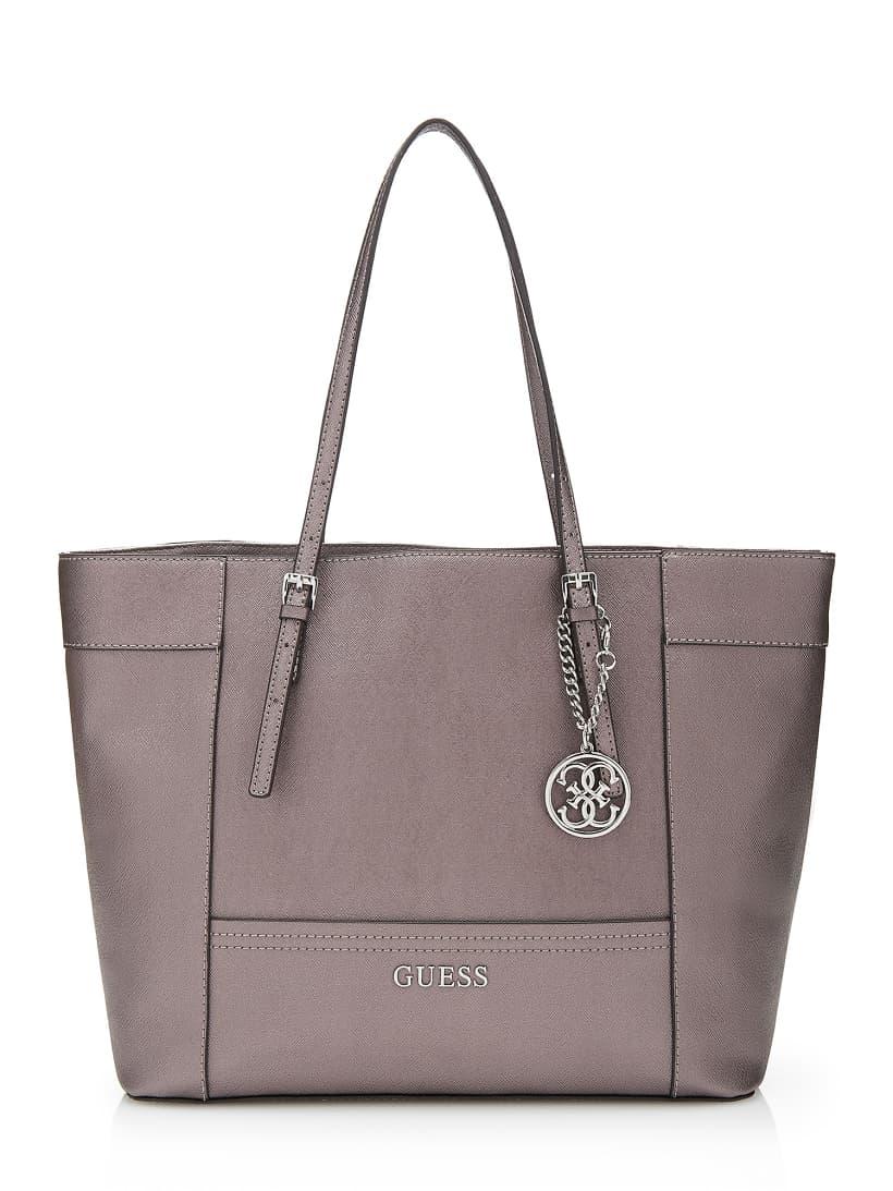 Delaney metallic medium classic tote bag | GUESS.eu